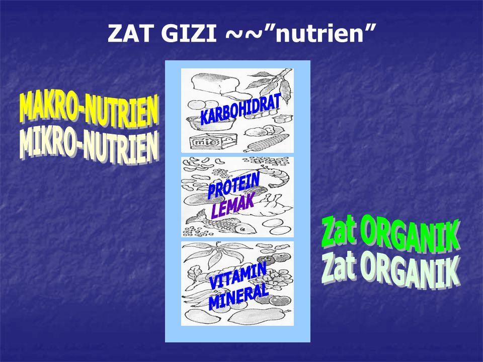 ZAT GIZI ~~ nutrien MAKRO-NUTRIEN MIKRO-NUTRIEN Zat ORGANIK
