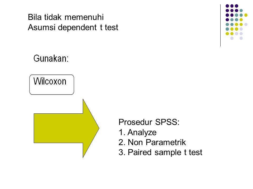 Bila tidak memenuhi Asumsi dependent t test. Prosedur SPSS: 1.