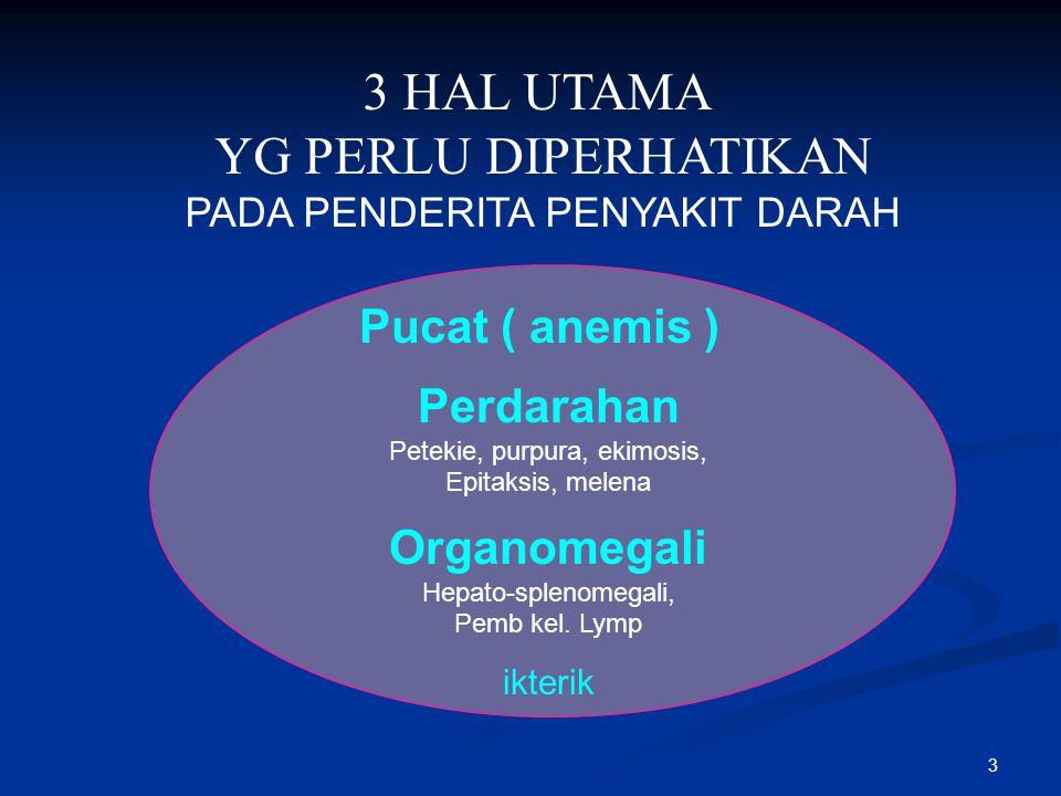 3 HAL UTAMA YG PERLU DIPERHATIKAN Pucat ( anemis ) Perdarahan