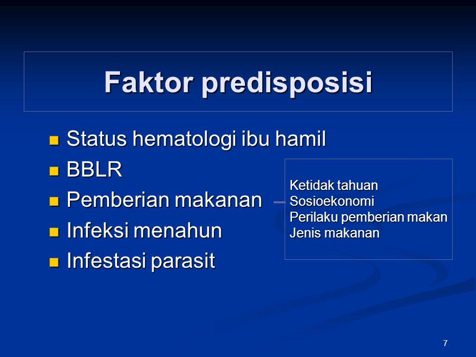 Faktor predisposisi Status hematologi ibu hamil BBLR Pemberian makanan