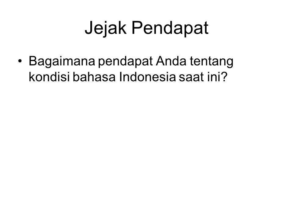 Jejak Pendapat Bagaimana pendapat Anda tentang kondisi bahasa Indonesia saat ini