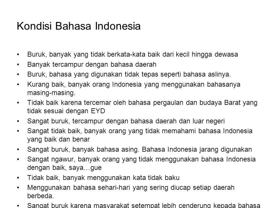 Kondisi Bahasa Indonesia