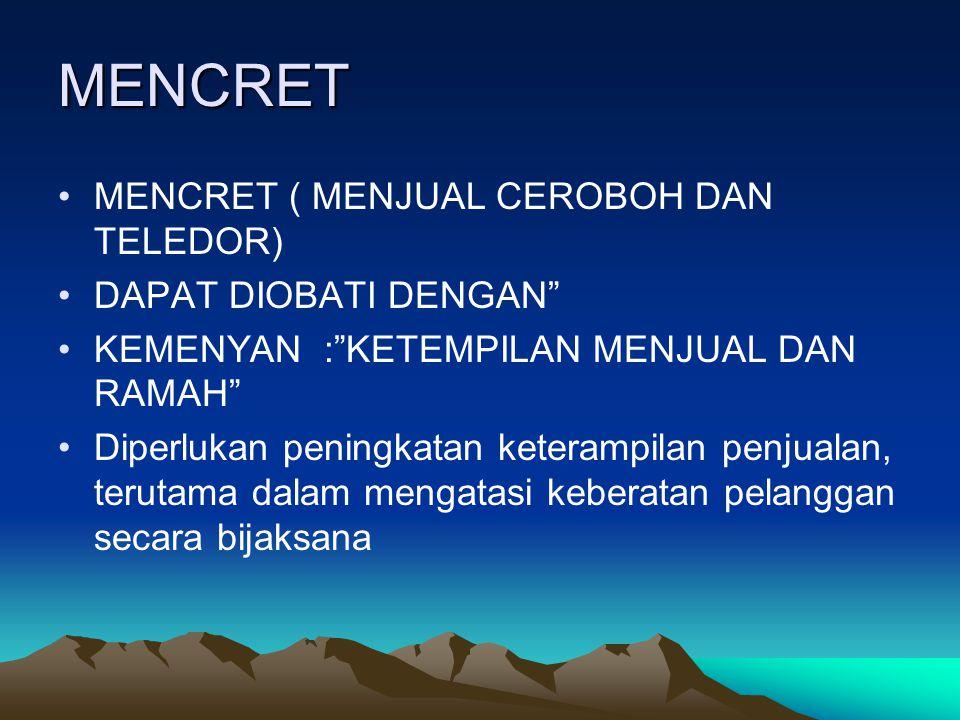 MENCRET MENCRET ( MENJUAL CEROBOH DAN TELEDOR) DAPAT DIOBATI DENGAN