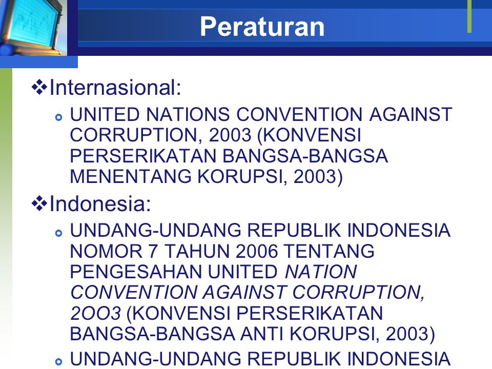 Peraturan Internasional: Indonesia: