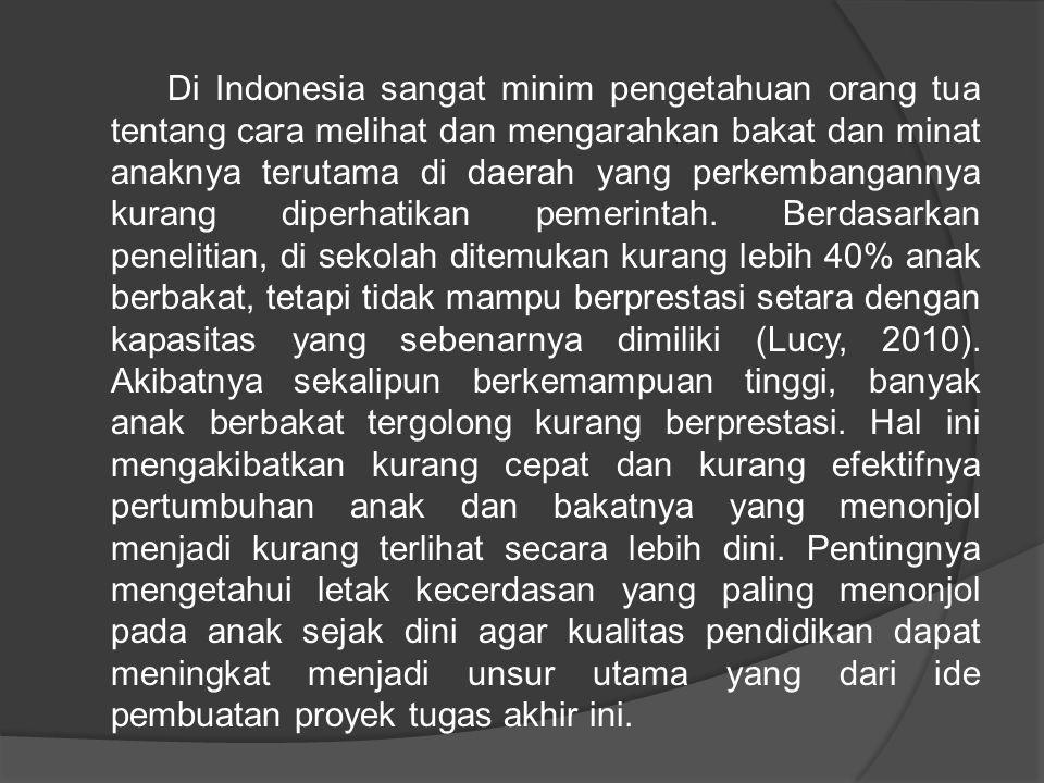Di Indonesia sangat minim pengetahuan orang tua tentang cara melihat dan mengarahkan bakat dan minat anaknya terutama di daerah yang perkembangannya kurang diperhatikan pemerintah.