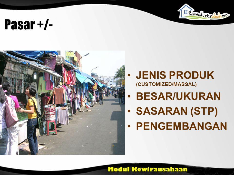 Pasar +/- JENIS PRODUK (CUSTOMIZED/MASSAL) BESAR/UKURAN SASARAN (STP)