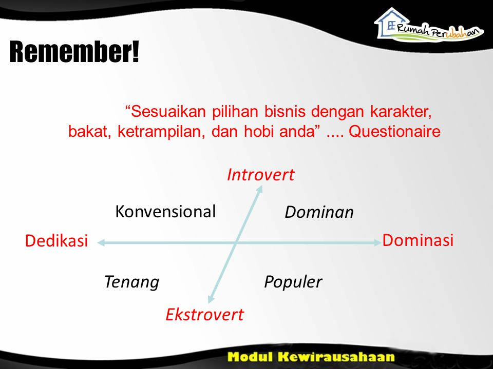 Remember! Introvert Konvensional Dominan Dedikasi Dominasi Tenang