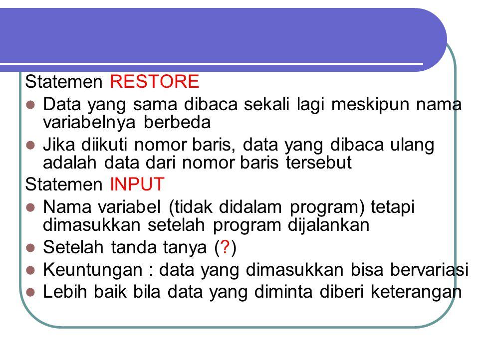 Statemen RESTORE Data yang sama dibaca sekali lagi meskipun nama variabelnya berbeda.