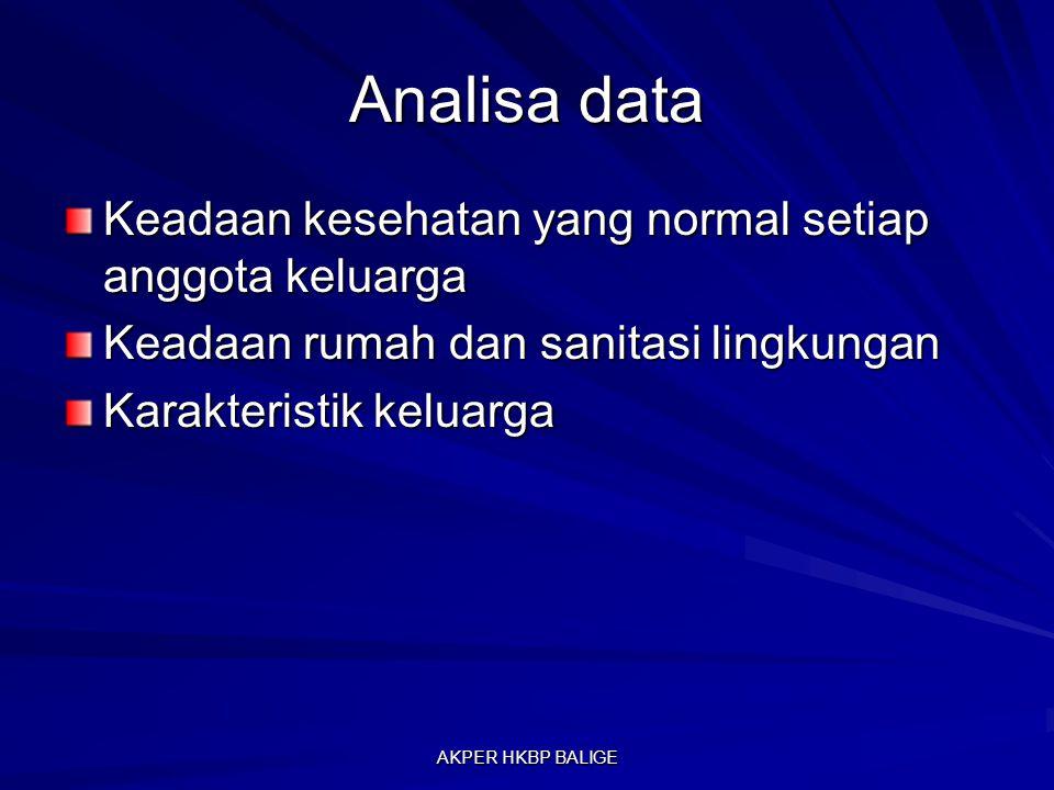 Analisa data Keadaan kesehatan yang normal setiap anggota keluarga