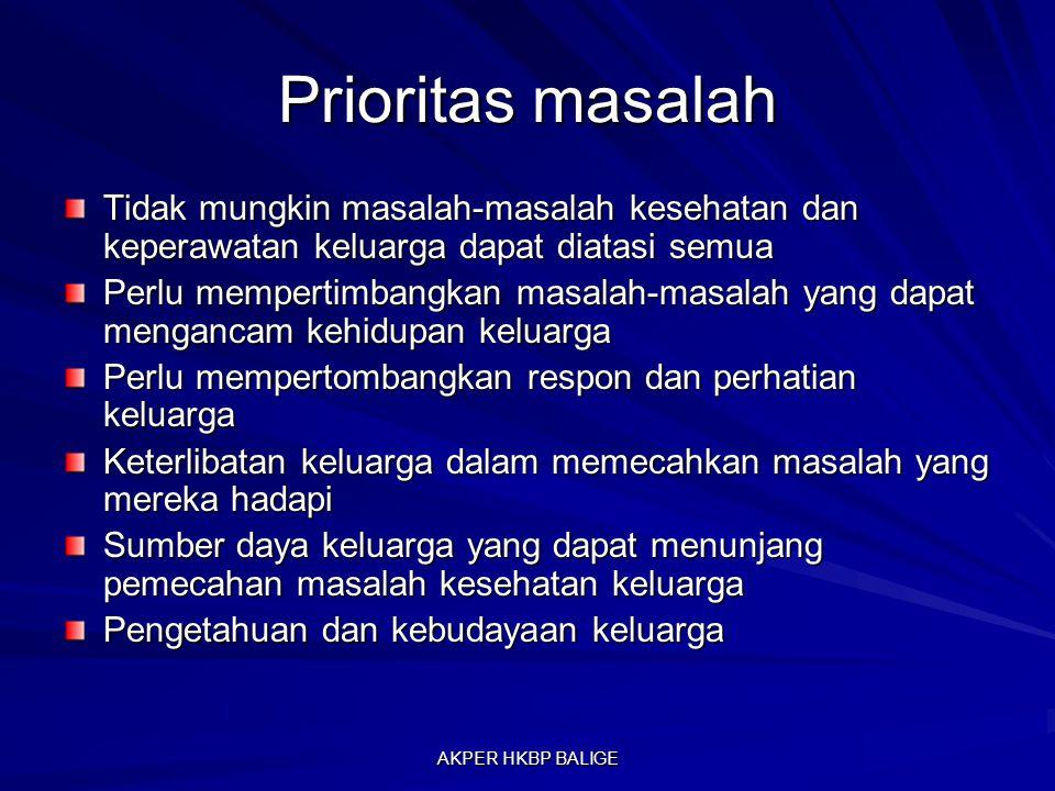 Prioritas masalah Tidak mungkin masalah-masalah kesehatan dan keperawatan keluarga dapat diatasi semua.