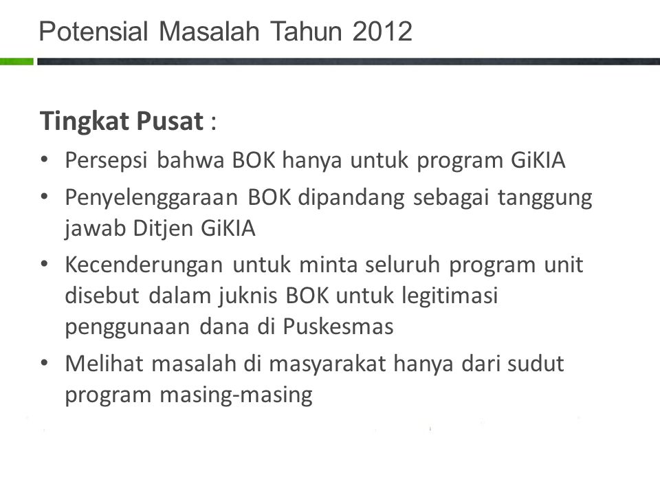 Potensial Masalah Tahun 2012