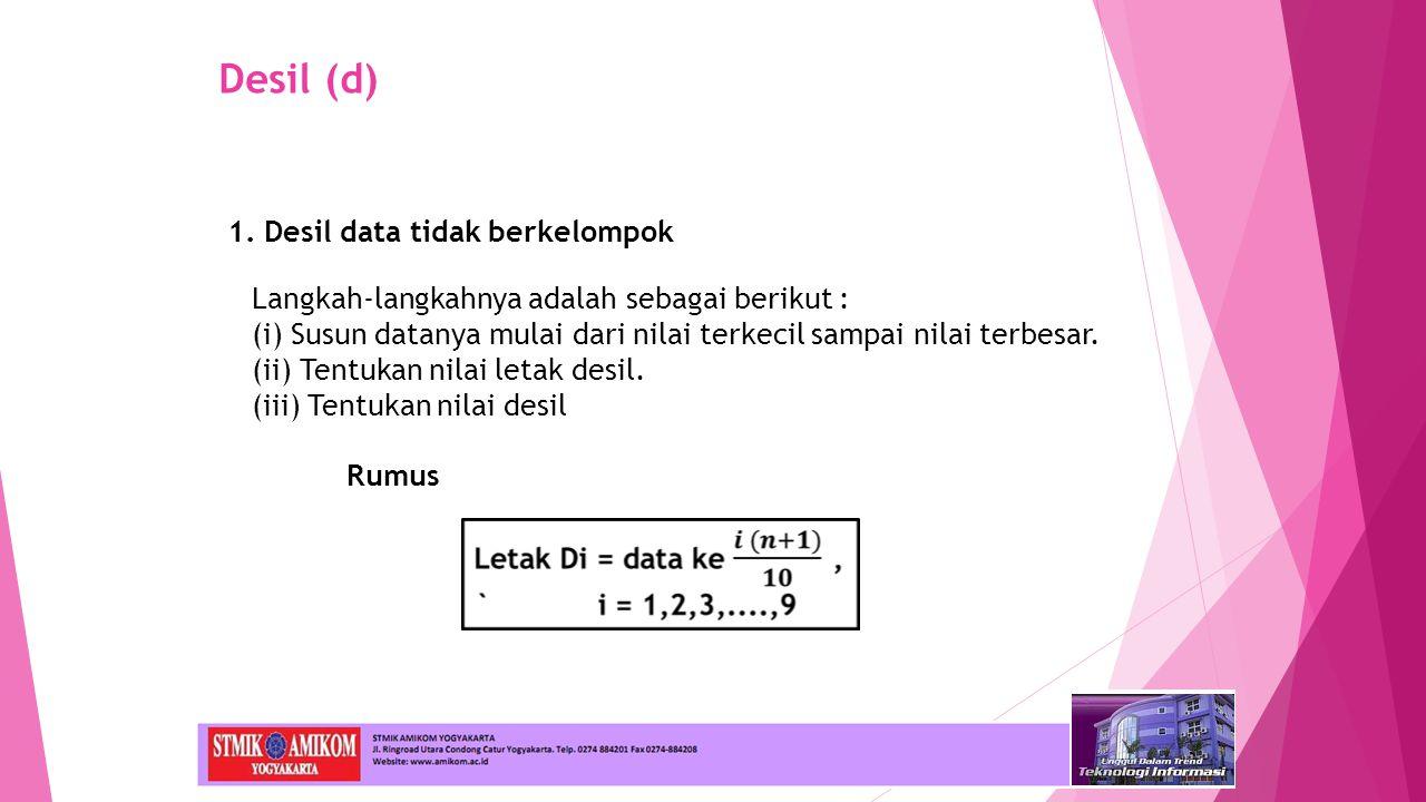 Desil (d) 1. Desil data tidak berkelompok