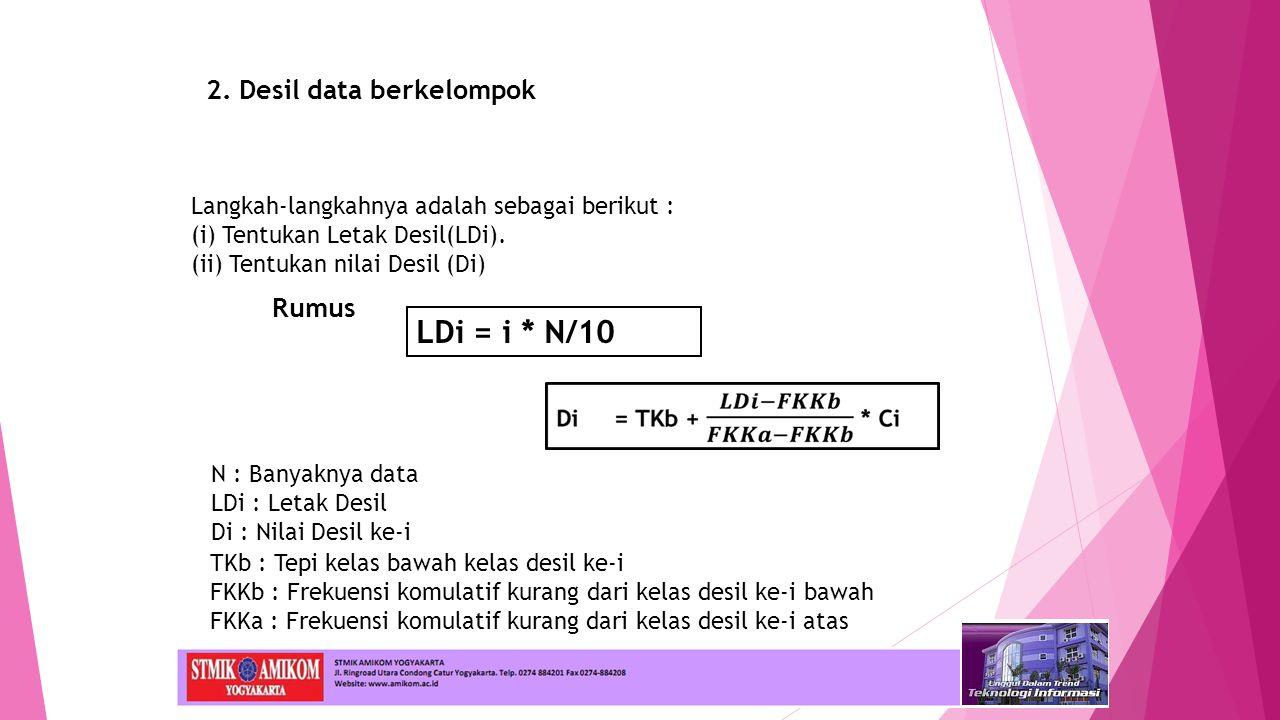 LDi = i * N/10 2. Desil data berkelompok Rumus