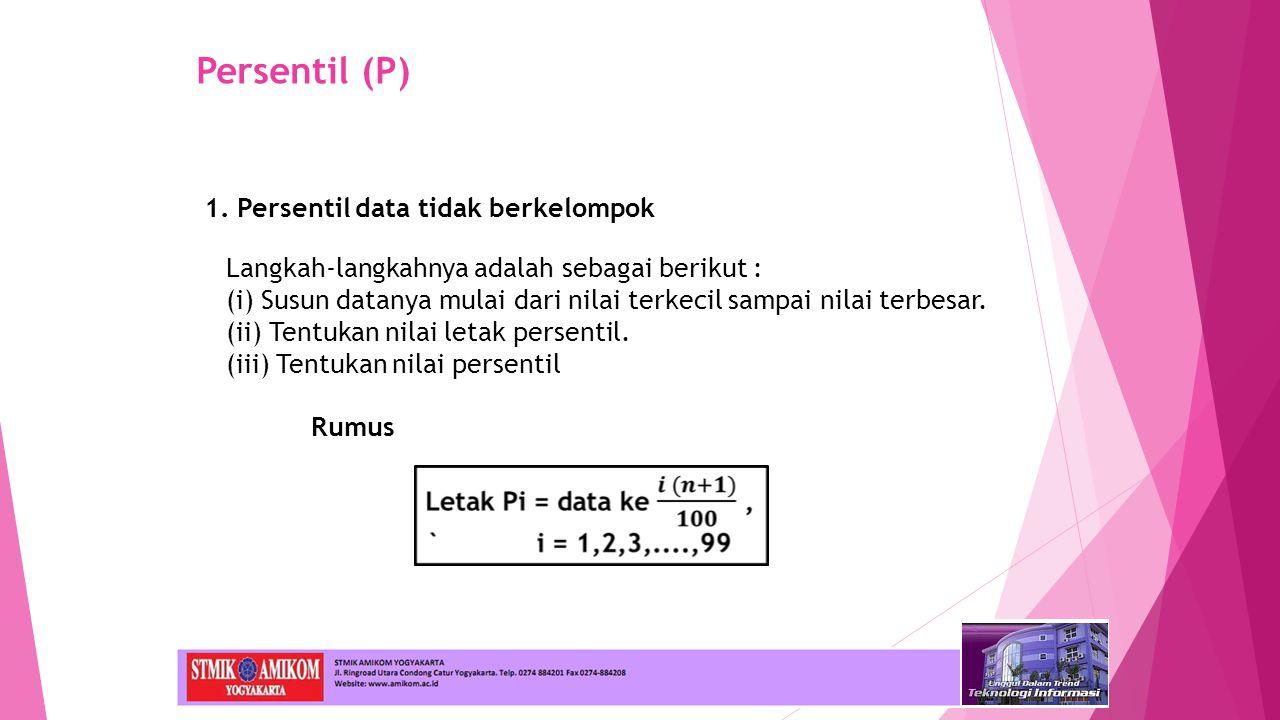 Persentil (P) 1. Persentil data tidak berkelompok
