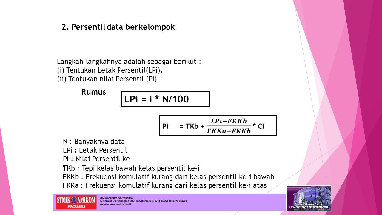LPi = i * N/100 2. Persentil data berkelompok Rumus