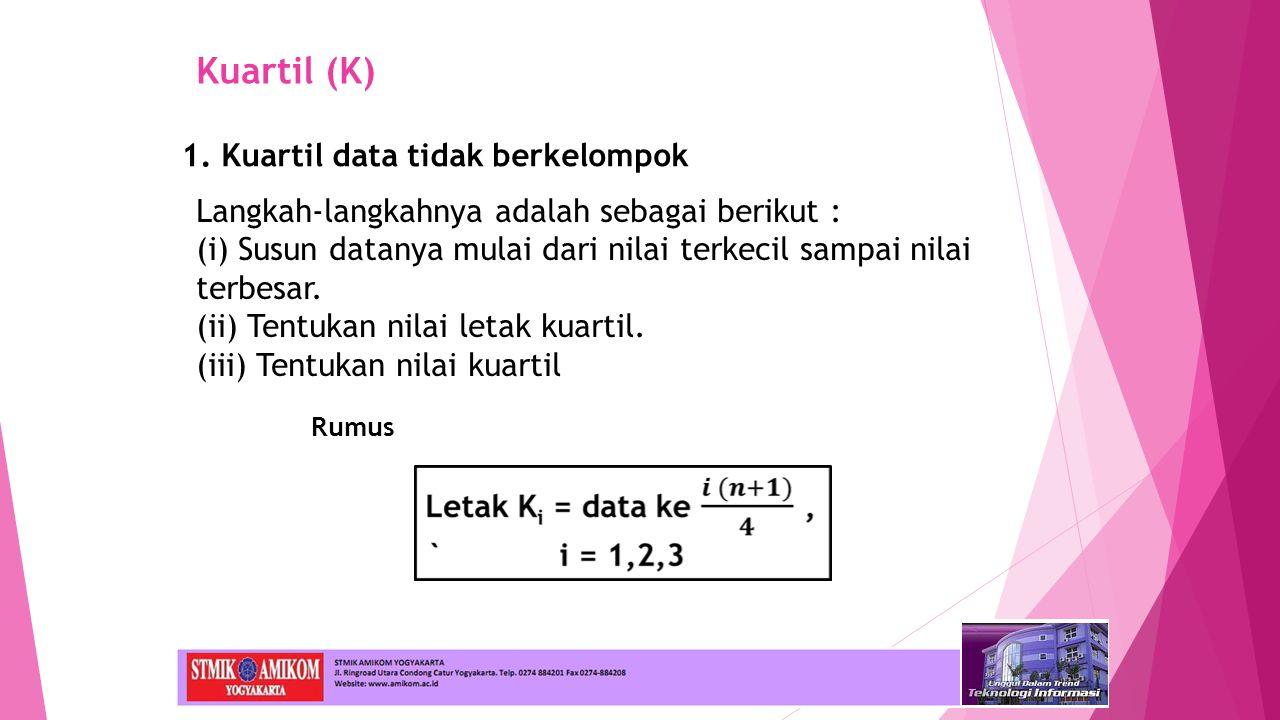 Kuartil (K) 1. Kuartil data tidak berkelompok