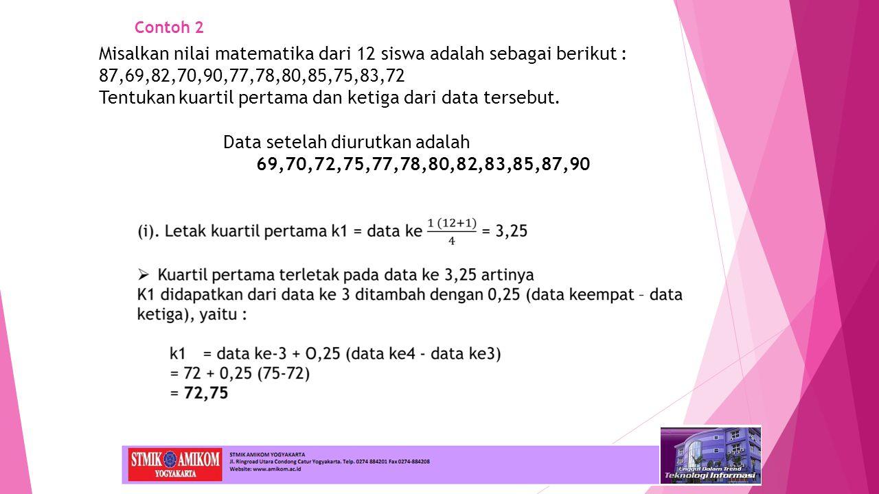 Misalkan nilai matematika dari 12 siswa adalah sebagai berikut :