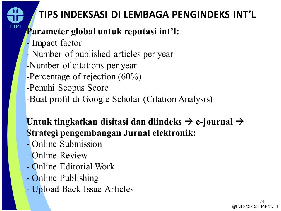 TIPS INDEKSASI DI LEMBAGA PENGINDEKS INT'L