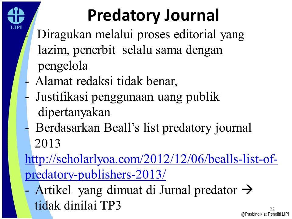 Predatory Journal lazim, penerbit selalu sama dengan pengelola