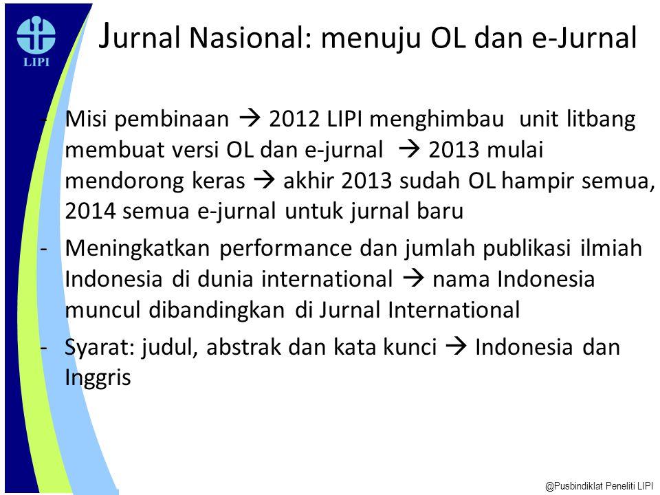 Jurnal Nasional: menuju OL dan e-Jurnal