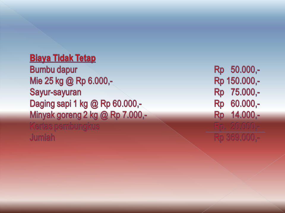 Biaya Tidak Tetap Bumbu dapur. Rp 50. 000,- Mie 25 kg @ Rp 6. 000,-