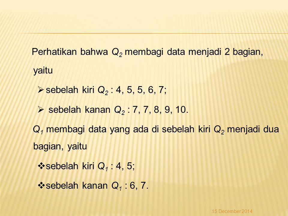 Perhatikan bahwa Q2 membagi data menjadi 2 bagian, yaitu