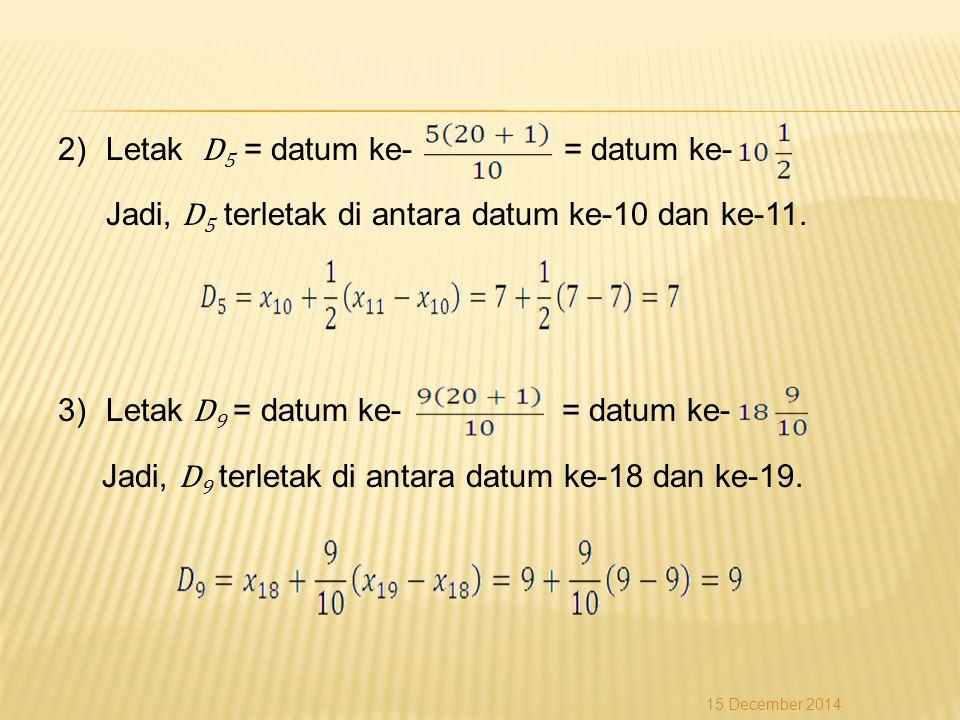 Letak D5 = datum ke- = datum ke-