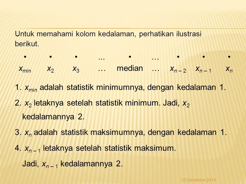 xmin adalah statistik minimumnya, dengan kedalaman 1.