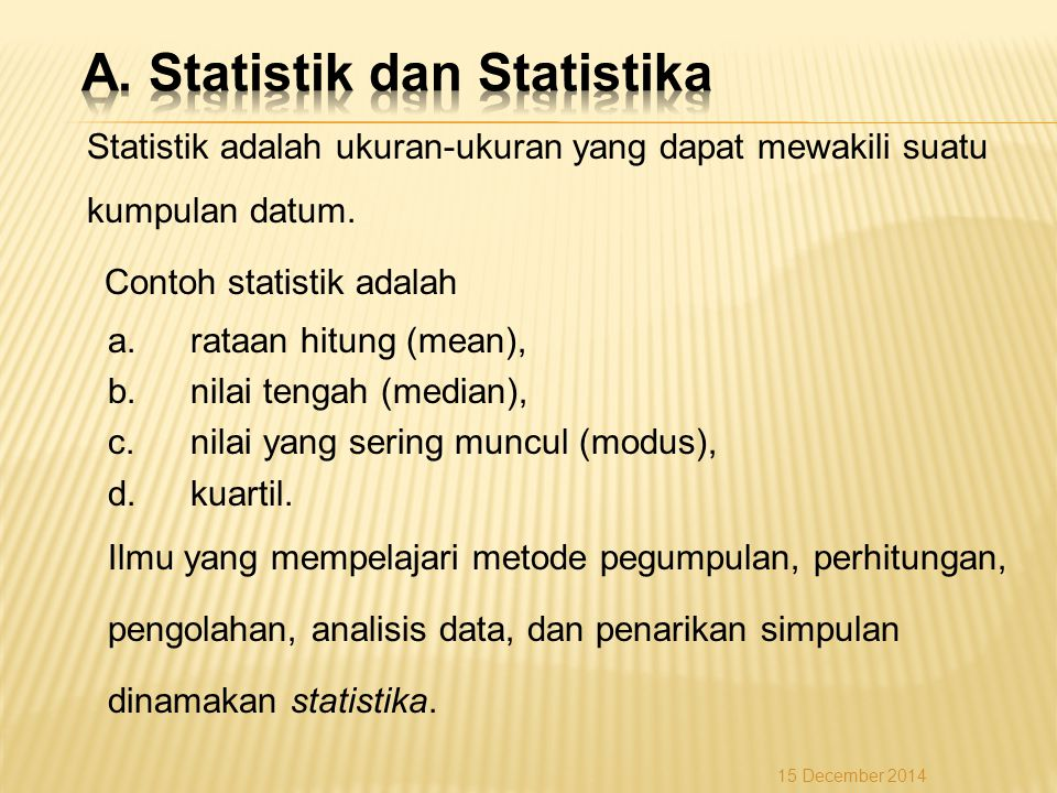 A. Statistik dan Statistika