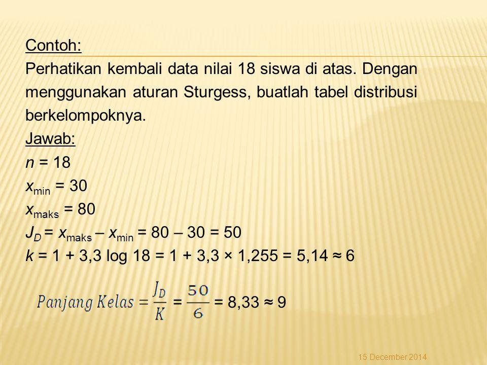 Contoh: Perhatikan kembali data nilai 18 siswa di atas