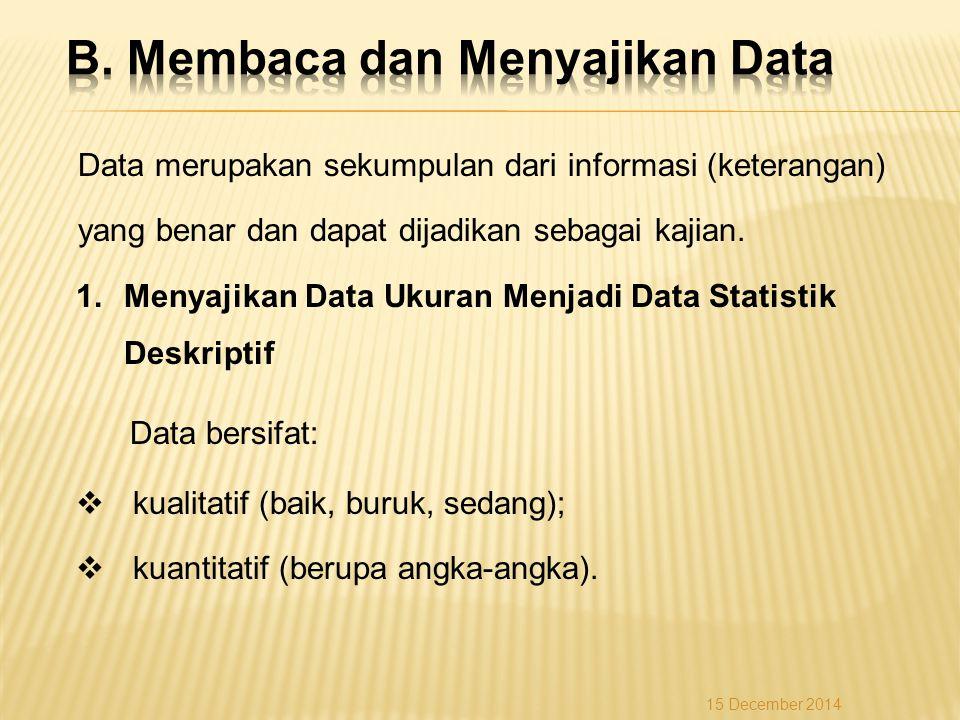 B. Membaca dan Menyajikan Data