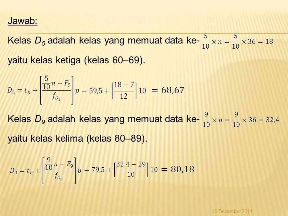 Jawab: Kelas D5 adalah kelas yang memuat data ke- yaitu kelas ketiga (kelas 60–69). Kelas D9 adalah kelas yang memuat data ke- yaitu kelas kelima (kelas 80–89).