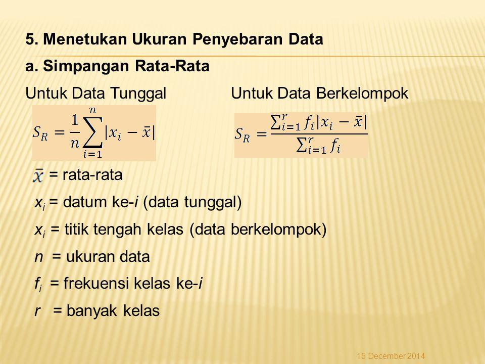 5. Menetukan Ukuran Penyebaran Data a. Simpangan Rata-Rata