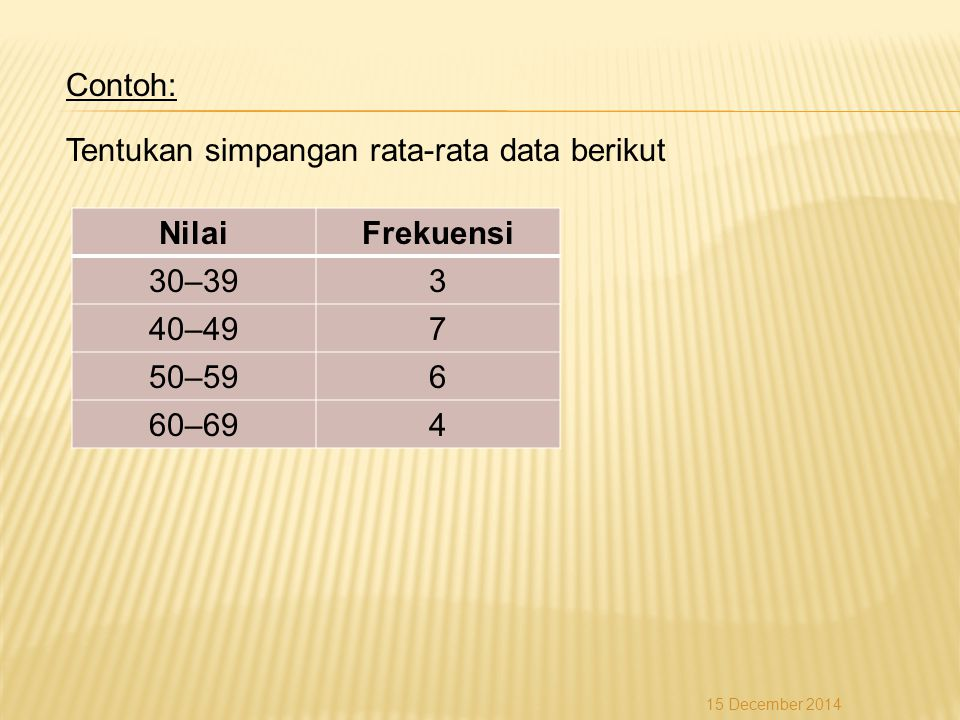 Contoh: Tentukan simpangan rata-rata data berikut