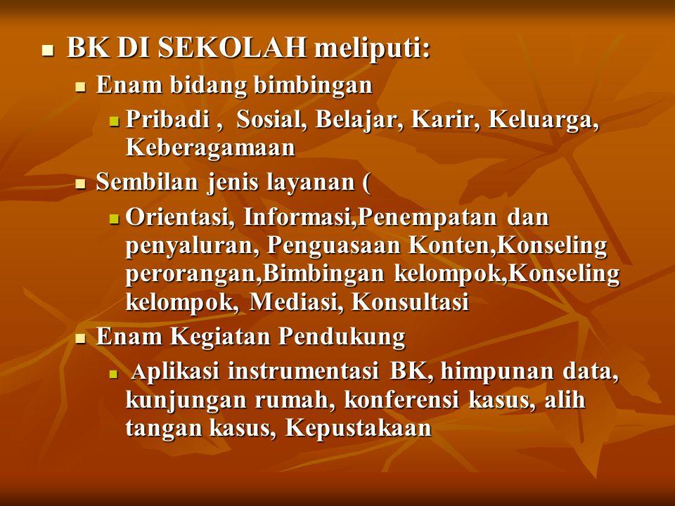 BK DI SEKOLAH meliputi: