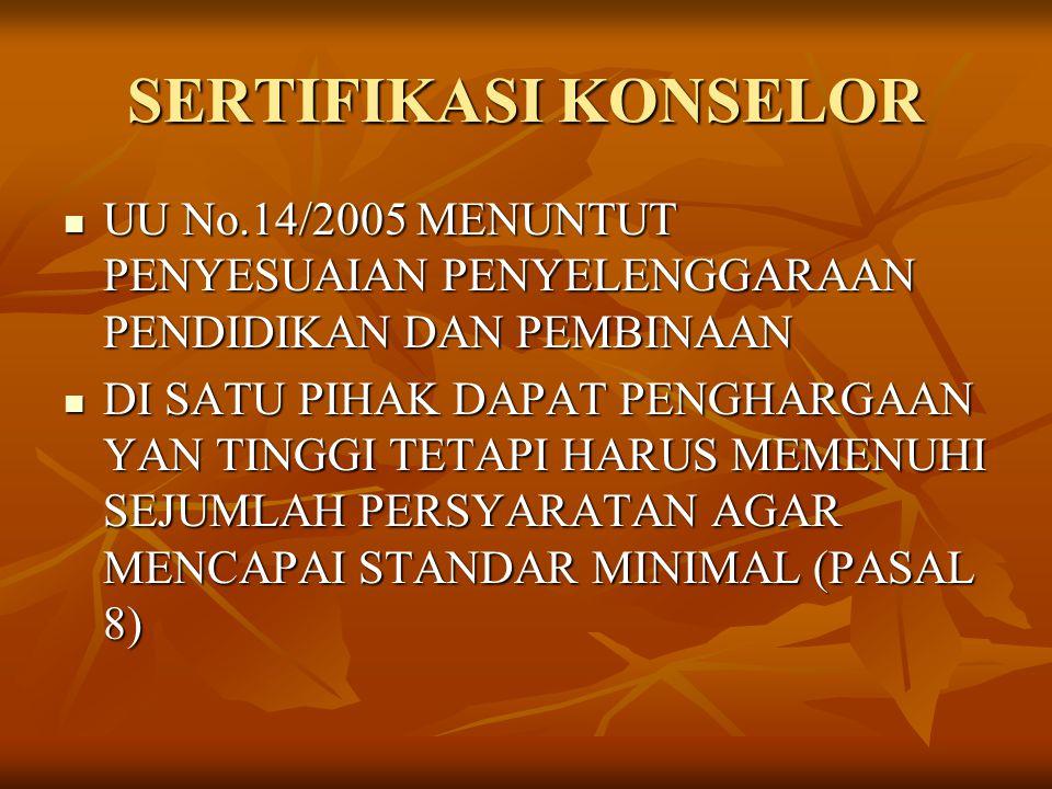 SERTIFIKASI KONSELOR UU No.14/2005 MENUNTUT PENYESUAIAN PENYELENGGARAAN PENDIDIKAN DAN PEMBINAAN.