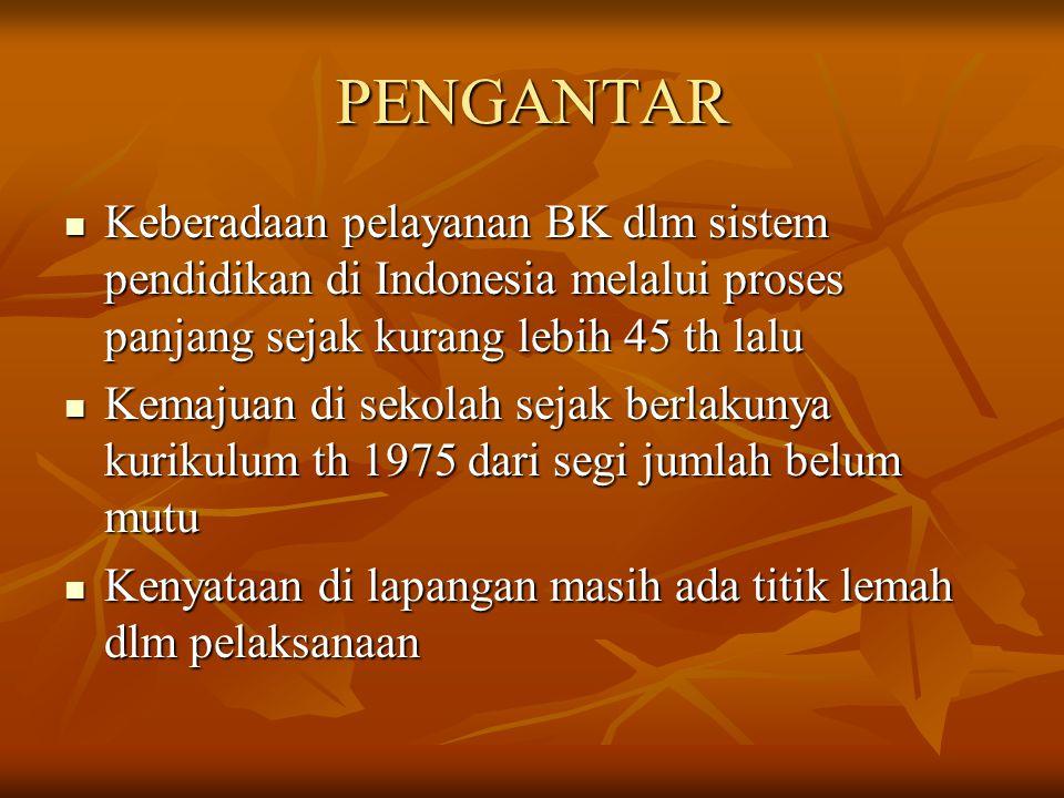 PENGANTAR Keberadaan pelayanan BK dlm sistem pendidikan di Indonesia melalui proses panjang sejak kurang lebih 45 th lalu.