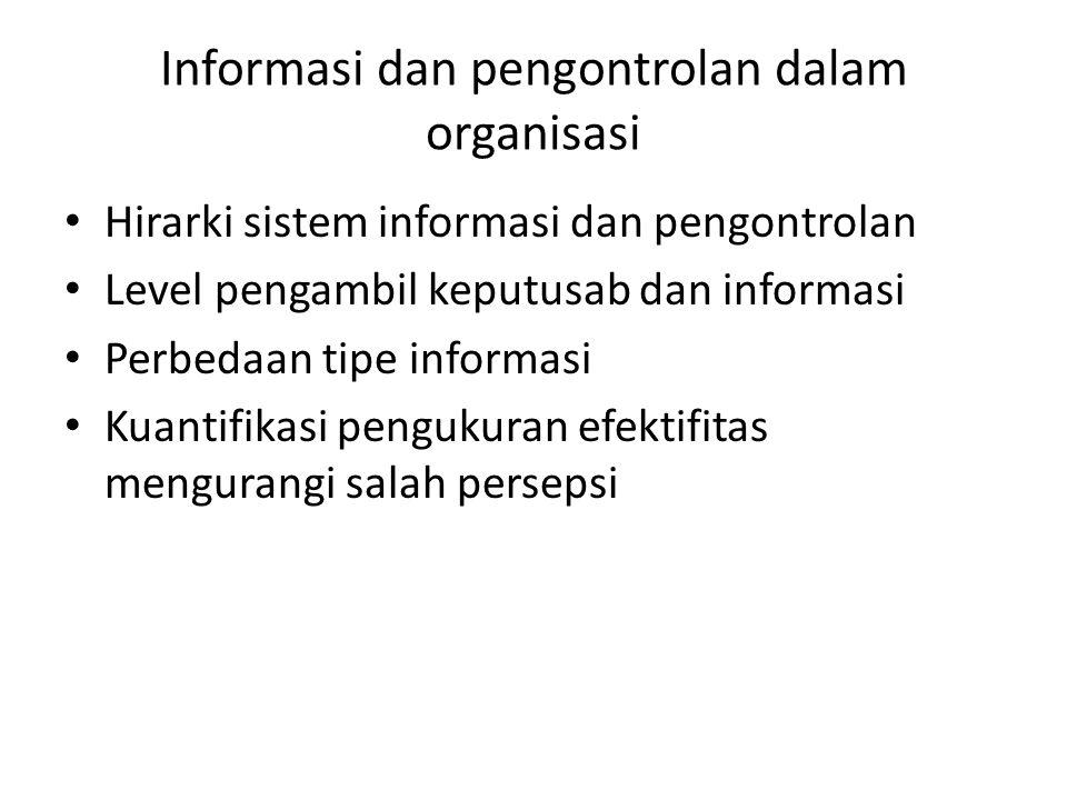 Informasi dan pengontrolan dalam organisasi