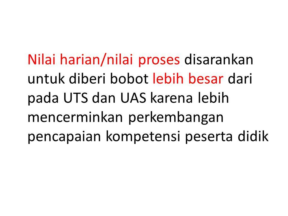 Nilai harian/nilai proses disarankan untuk diberi bobot lebih besar dari pada UTS dan UAS karena lebih mencerminkan perkembangan pencapaian kompetensi peserta didik