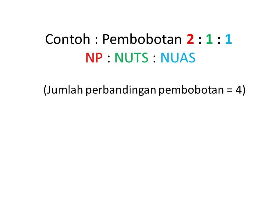 Contoh : Pembobotan 2 : 1 : 1 NP : NUTS : NUAS