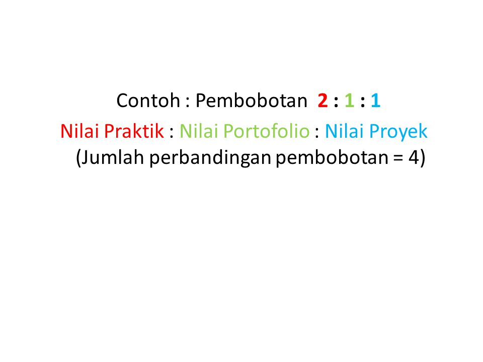 Contoh : Pembobotan 2 : 1 : 1 Nilai Praktik : Nilai Portofolio : Nilai Proyek (Jumlah perbandingan pembobotan = 4)