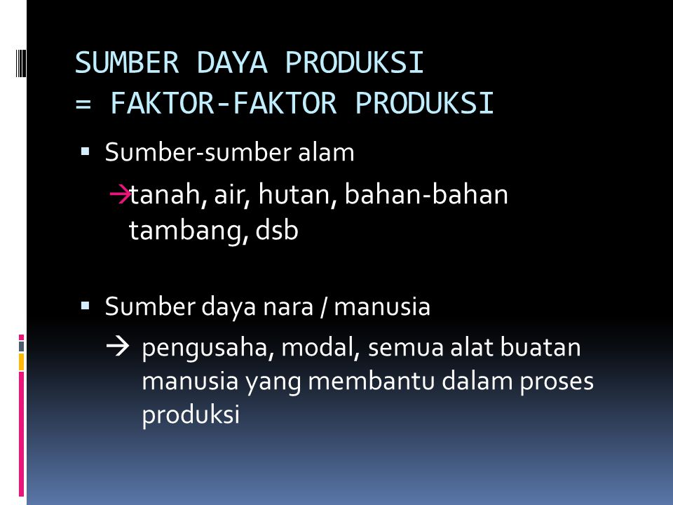 SUMBER DAYA PRODUKSI = FAKTOR-FAKTOR PRODUKSI