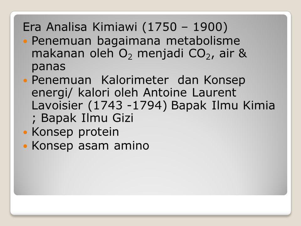 Era Analisa Kimiawi (1750 – 1900)