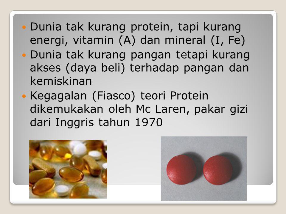 Dunia tak kurang protein, tapi kurang energi, vitamin (A) dan mineral (I, Fe)