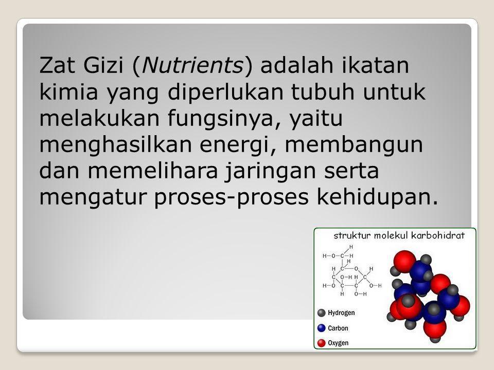 Zat Gizi (Nutrients) adalah ikatan kimia yang diperlukan tubuh untuk melakukan fungsinya, yaitu menghasilkan energi, membangun dan memelihara jaringan serta mengatur proses-proses kehidupan.