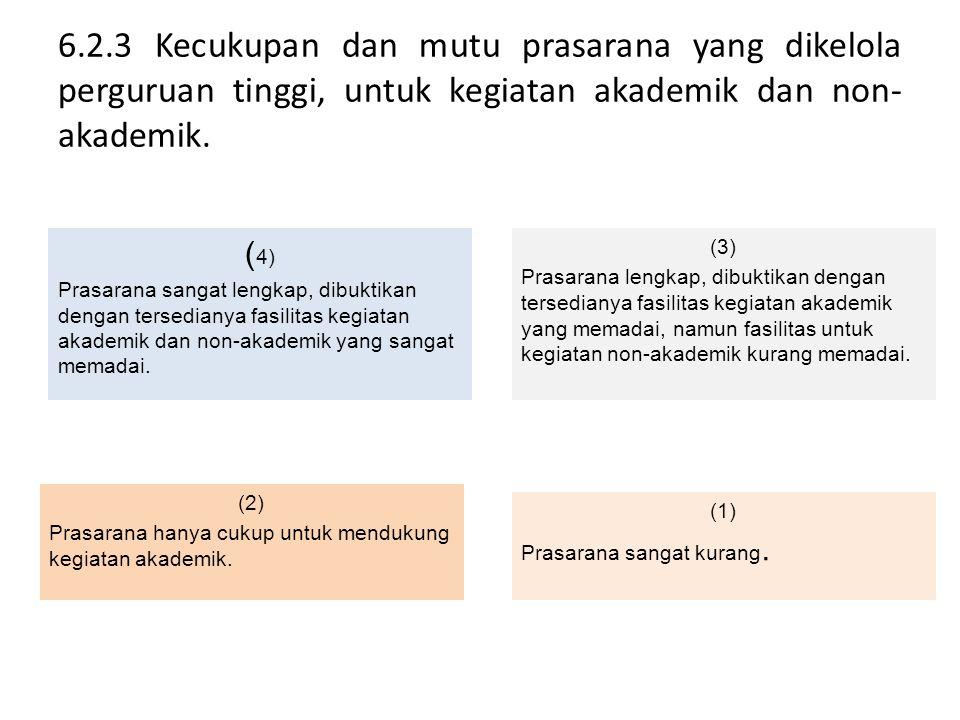 6.2.3 Kecukupan dan mutu prasarana yang dikelola perguruan tinggi, untuk kegiatan akademik dan non-akademik.