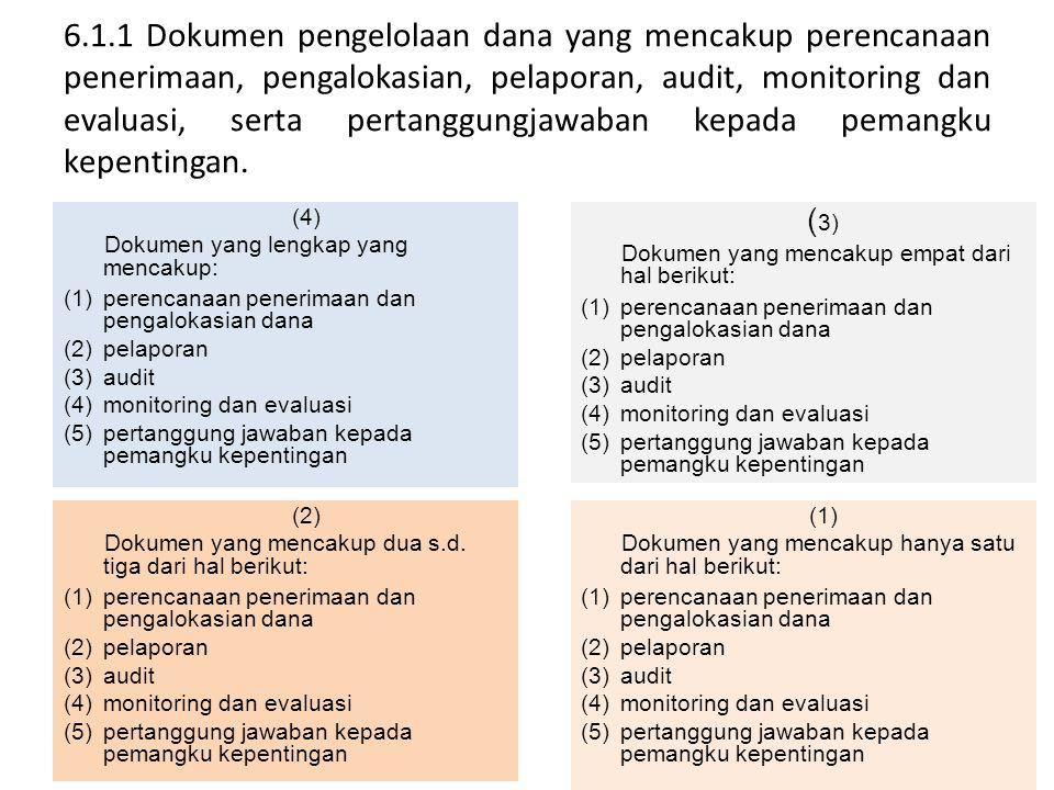 6.1.1 Dokumen pengelolaan dana yang mencakup perencanaan penerimaan, pengalokasian, pelaporan, audit, monitoring dan evaluasi, serta pertanggungjawaban kepada pemangku kepentingan.