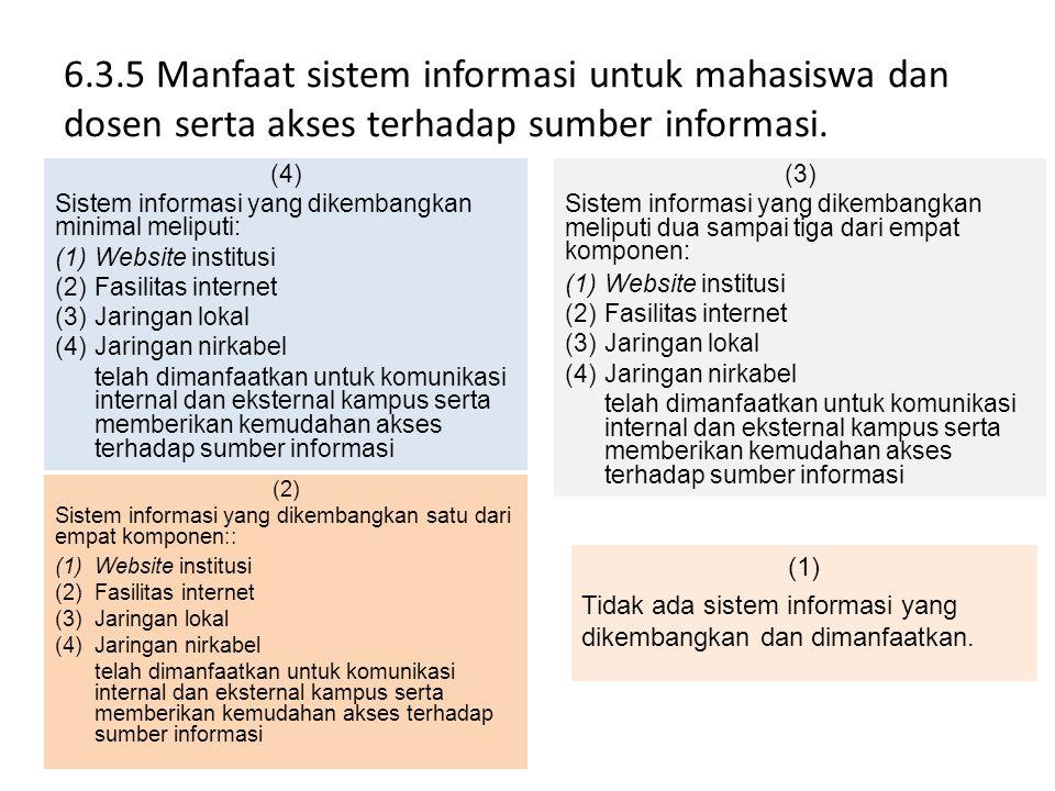 6.3.5 Manfaat sistem informasi untuk mahasiswa dan dosen serta akses terhadap sumber informasi.