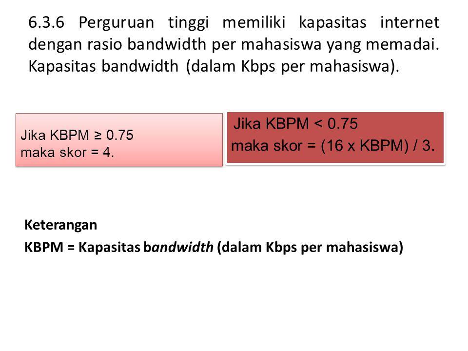 6.3.6 Perguruan tinggi memiliki kapasitas internet dengan rasio bandwidth per mahasiswa yang memadai. Kapasitas bandwidth (dalam Kbps per mahasiswa).