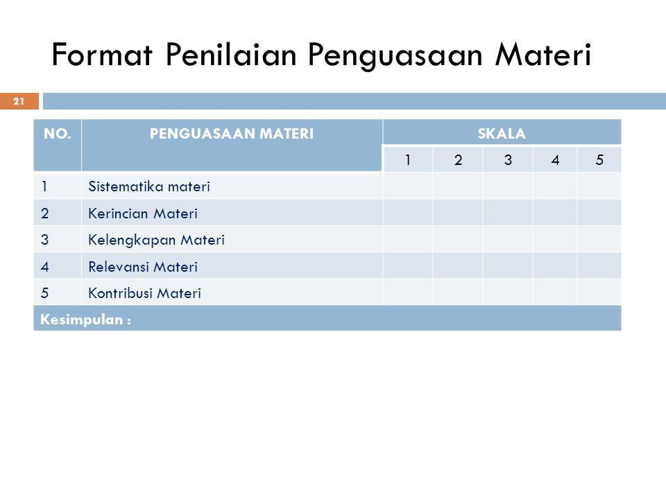 Format Penilaian Penguasaan Materi